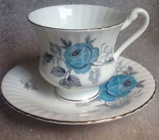 Tea Cup And Saucer Hamilton Bone China - 22k Gold Trim - Aqua Blue Flowers photo