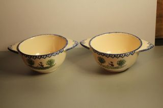 2 French Cafe Au Lait Bowls Hand Painted photo