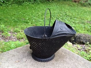 Antique Vintage No.  17 Galvanized Metal Coal Ash Scuttle Bucket Decor photo