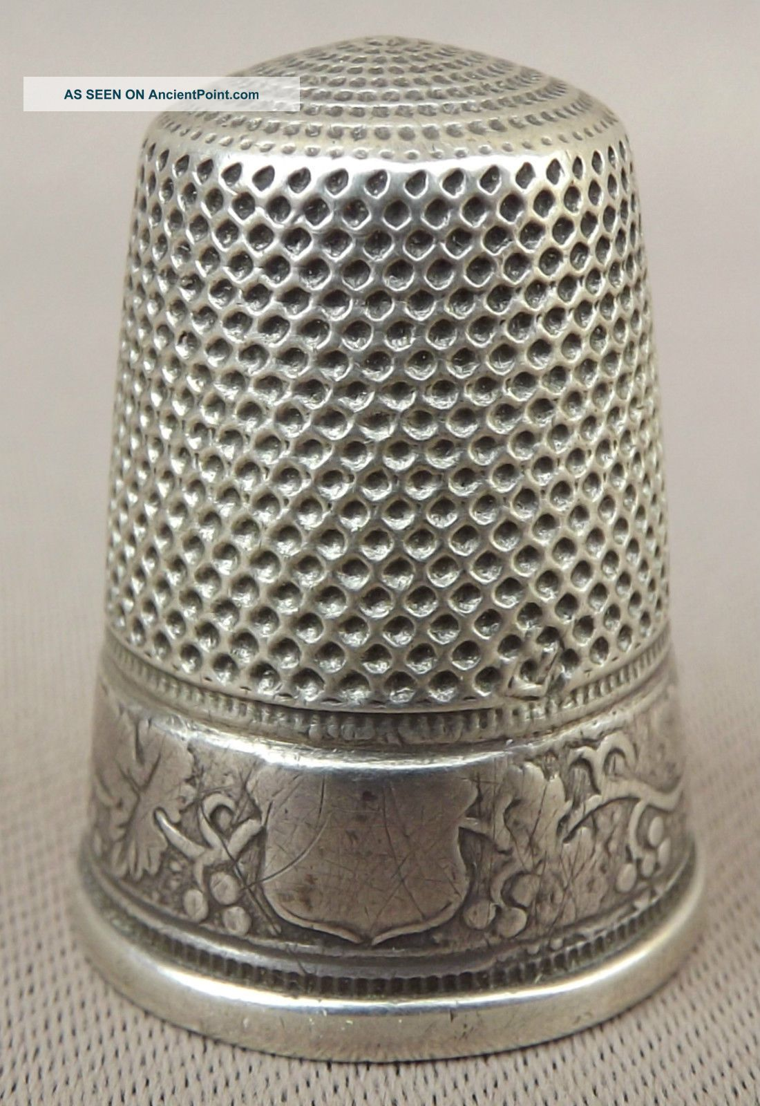 Antique French Grapevine Leaves Band Sterling Silver Thimble Thimbles photo