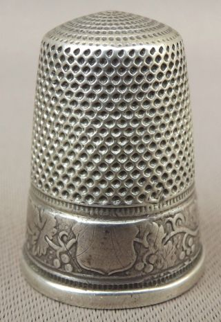 Antique French Grapevine Leaves Band Sterling Silver Thimble photo