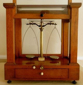 Antique Scale Eimer & Amend York Apothecary - Gold Scale Wavy Glass photo