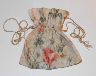 Antique Victorian Edwardian Pink Silk Vintage Drawstring Purse Sewing Bag Pouch photo