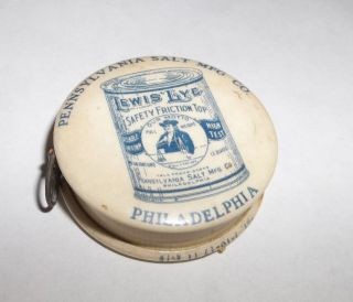 Rare Vtg 1919 Celluloid Philadelphia Salt Co Lewis Lye Advertisingtape Measure photo