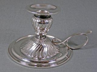 Austrian 800 Silver Fluted Design Chamberstick Candlestick Vienna 1880 photo