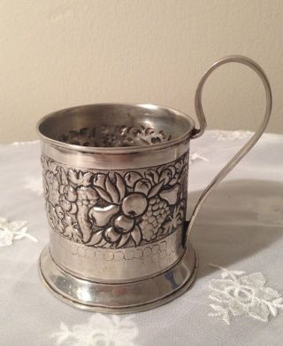 Rare Vintage Russian German Silver Podstakannik Tea Glass Holder Hand Made photo