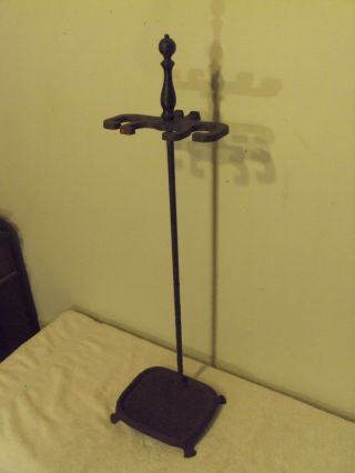 Antique Vintage ' Cutter Mfg Co ' Cast Iron Fireplace Tool Stand,  Stand Only photo