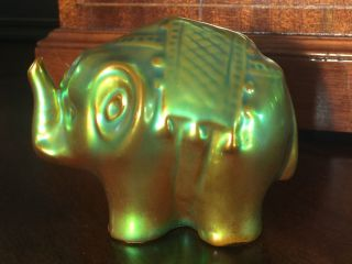 Zsolnay Hungary Esoin Glazed Gold & Green 3 Inch Porcelain Elephant Figurine photo