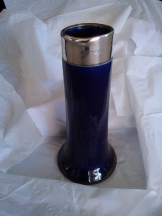 Antique Royal Doulton Vase - Cobalt Blue & Hallmarked Silver Rim.  Early 1900 ' S photo