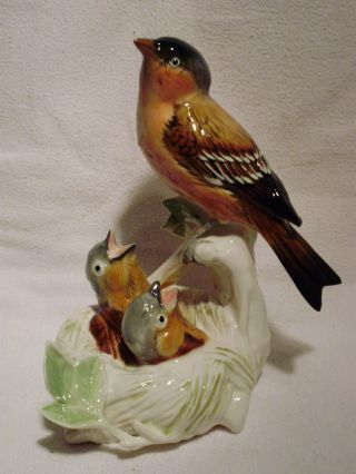 Finch With Nest Pair Group Decoration Porcelain Figurine Ens German photo