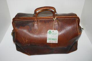 Antique Vintage Leather Doctor Style Satchel Bag Valise Luggage Suitcase photo