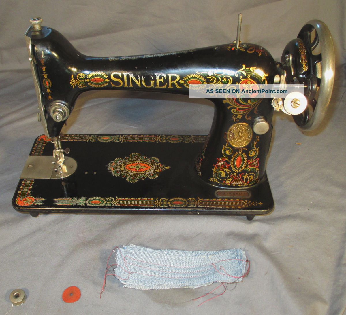 Serviced Antique 1923 Singer 66 - 1 66 - 4 Red Eye Treadle Sewing Machine See Video Sewing Machines photo