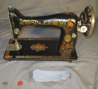 Serviced Antique 1923 Singer 66 - 1 66 - 4 Red Eye Treadle Sewing Machine See Video photo