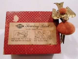 Vintage/antique? Traum Sewing Bird - Two Velvet Pin Cushions - A Third Hand. photo