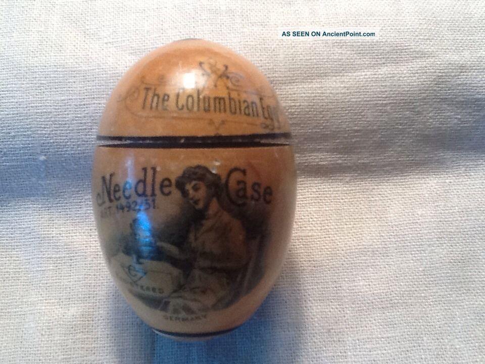 1893 Colombian Exposition Wood Egg Needle Case Germany Needles & Cases photo
