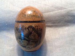 1893 Colombian Exposition Wood Egg Needle Case Germany photo