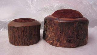 2 Antique Big Tree Bark Pin Cushion Wood photo