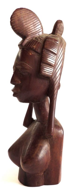 Native African Tribal Carved Wood Woman Bust. photo