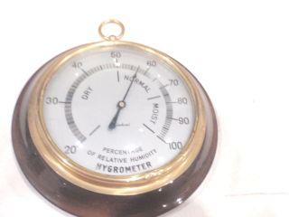 Vintage Hardwood & Brass Hygrometer - Percentage Of Relative Humidity - Germany photo