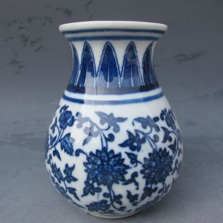 Chinese Blue And White Hand - Painted Porcelain Vase W Qing Dynasty Qianlong Mark photo