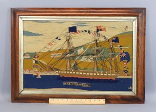 Antique 19thc Folk Art Woolwork Embroidered Hms Chesapeake Sailing Ship,  Nr photo