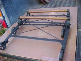 Industrial Shop Cart Steampunk Repurpose Table Legs Cast Iron Wheels Parts Only photo