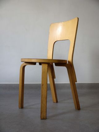1940s Vintage Model 66 Chair Alvar Aalto For Artek Finland Bent Plywood photo