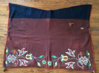 Rare Old American Indian Floral Beaded Saddle Blanket photo