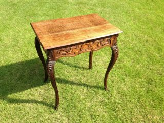 Antique Country French Hand Carved Solid Oak Table - Lowered Price photo