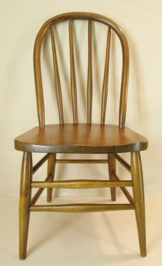 Vtg 1940 - 50 ' S Large Child ' S Youth Solid Oak Wood Bentwood Back Chair Med.  Stain photo
