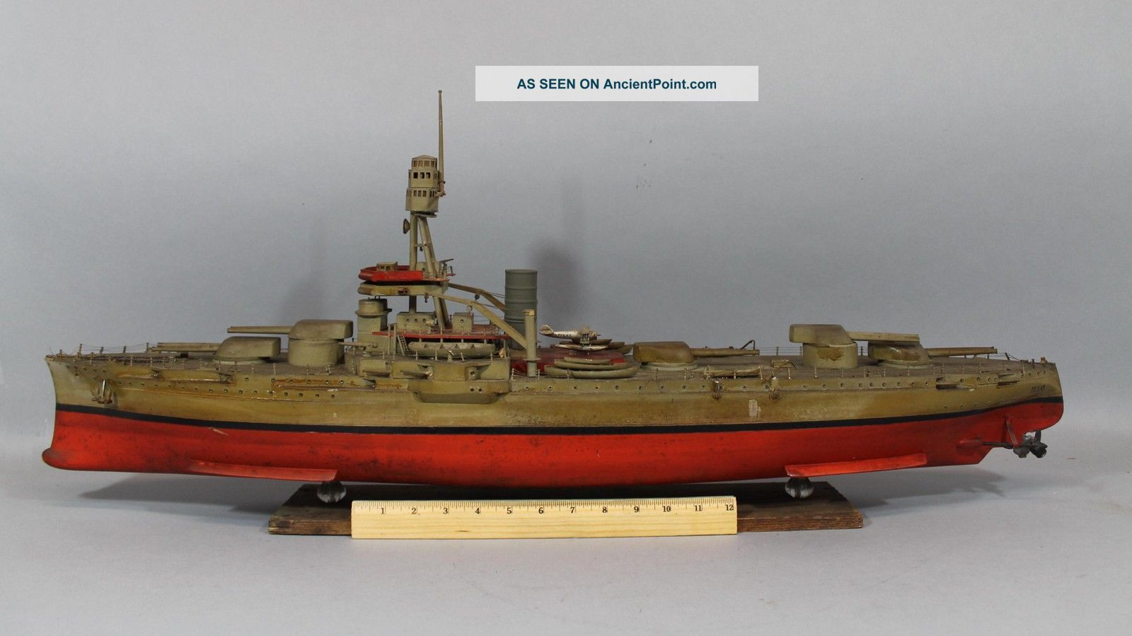 Antique Wwi Uss Texas Handmade Wood Battleship Ship Model,  Nr Model Ships photo