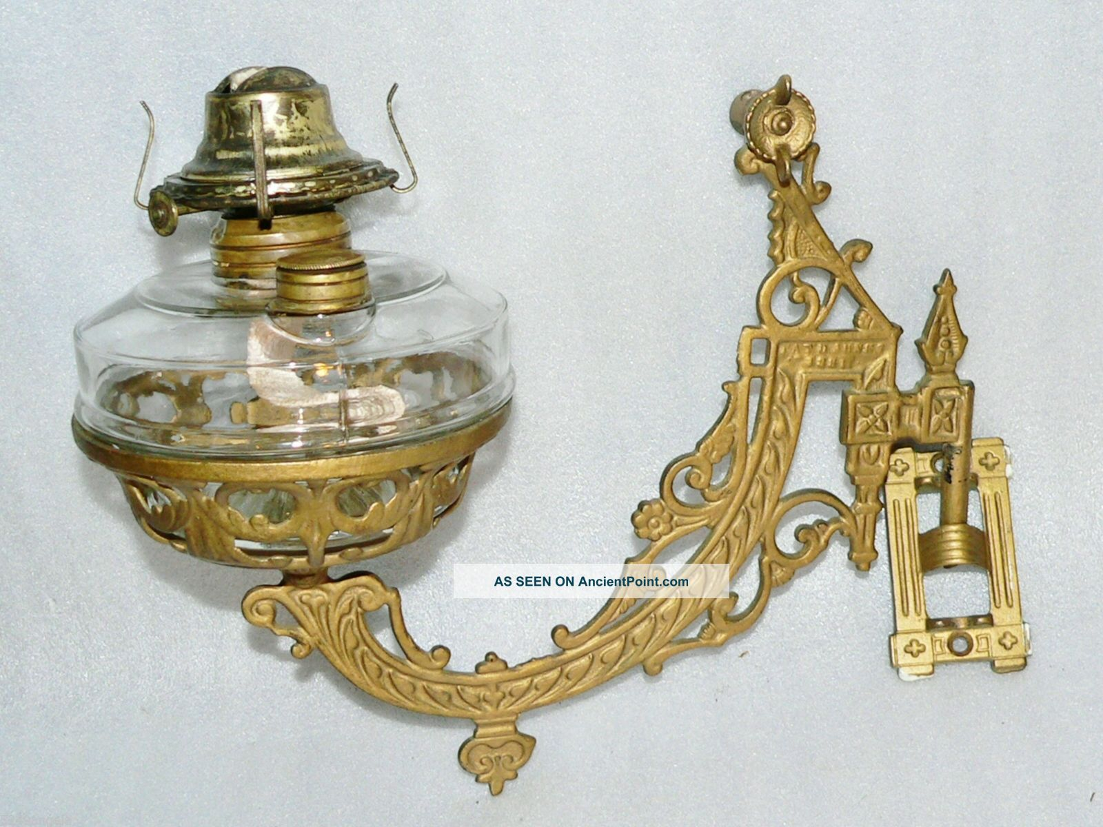 1881 Victorian B H Cast Iron Oil Lamp Holder Wall