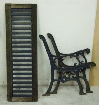 Vtg Pair Ornate Cast Iron Garden Park Bench Legs & Back Rest Heavy Duty Antique photo