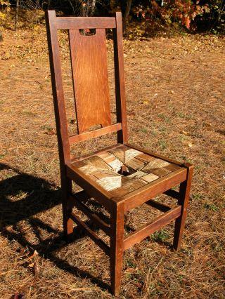 Arts & Crafts Mission Oak Gustav Stickley H Back Dining Side Chair photo