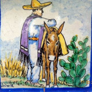 Antique Signed Uriarte 1930s Mexican Pueblo Terracotta Pictorial Tile Donkey photo