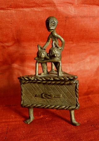 African Bronze,  Ashanti Antique Gold Dust Box,  Lost Wax Casting,  Signed photo