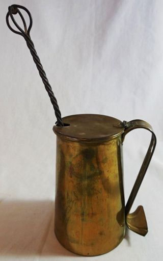 Vintage Cape Cod Brass Fireplace Fire Pot Fire Starter W/ Pumice Wand photo