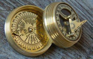 Nautical Collectibles Brass Sundial Compass photo