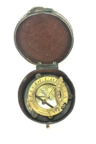 Antique J.  H.  Jh Steward Strand London Nautical Maritime Brass Sundial Compass photo