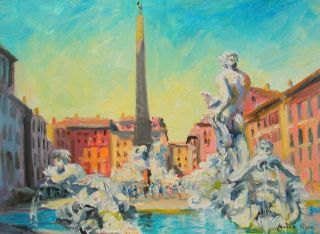 Impressionist Painting Of Piazza Navona Rome By Listed American photo