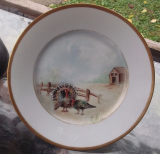 Vintage Hand Painted By M Turkey Plate For Serving & Display Thanksgiving & More photo