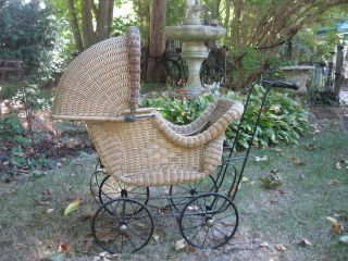 Antique Vintage Wicker Carriage Baby Stroller Doll Buggy Pram Theatrical Pro photo
