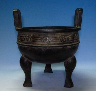 Fine China Bronze Tripod Pot Ding Scale Motif Ancient Characters Inscription photo