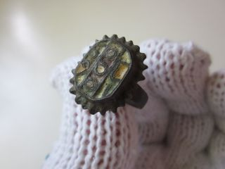 Top - Ancient Byzantine Bronze Ring With Colored Enamel photo