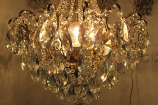 Antique French Huge Spider Style Crystal Chandelier Lamp 1940s 19in Diametr photo