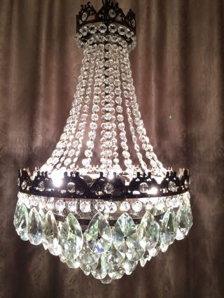 Antique French Huge Basket Style Crystal Brass Chandelier Lamp Light 1940s photo