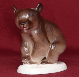Vintageussr Soviet Rusian Lfz ЛФЗ Lomonosov Porcelain Figurine Baby Brown Bear photo