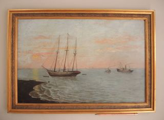 19th Century Nautical Painting Antique Schooner Steam Ocean Boat Shore Seascape photo