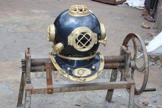 U.  S Navy Divers Helmet Solid Steel & Aluminium Full Size photo