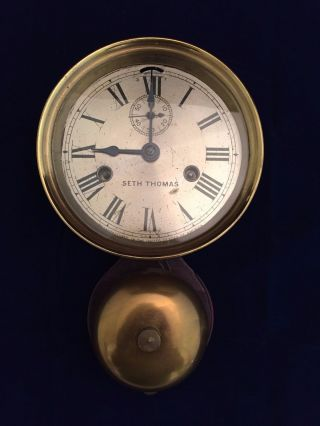 Antique Seth Thomas Ship Clock With External Bell photo